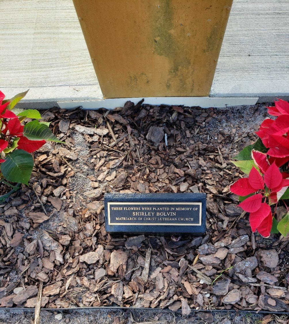Shirley Bolvin Memorial Plaque